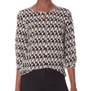 The Limited Houndstooth Print Keyhole Blouse